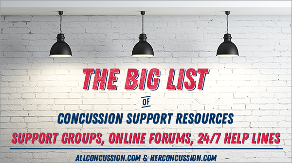 AllConcussion Big List of concussion support resources